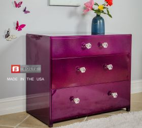 Steel 3 Drawer Dresser in Razz Sparkle finsih