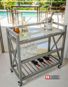 Movable Bar & Service Cart. Steel Construction with 3 shelves