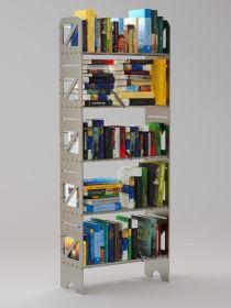 5 Shelf Modular Steel Bookcase in Black Matte