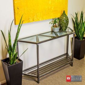 5-Tri Console Table - Left Corner Side View | Boltz Steel Furniture - Welded Metal Tables Made in USA