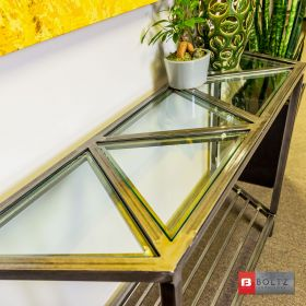 5-Tri Console Table - Glass Detail View | Boltz Steel Furniture - Welded Metal Tables Made in USA