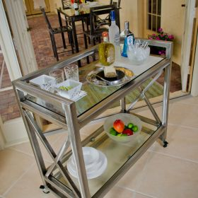 Mobile Steel Serving Cart