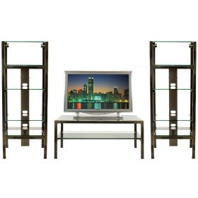 Steel & Glass Home Theater Display Shelving & Table