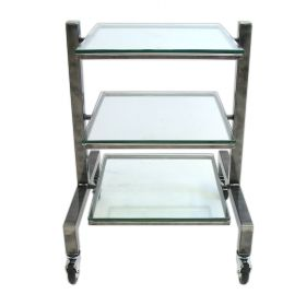3 Shelf Steel & Glass Component Stand