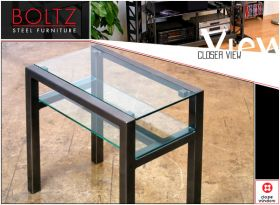 Steel & Glass Quarter Table