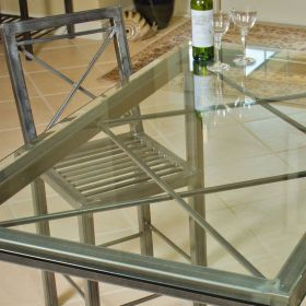 Handmade Steel Double X Dining Room Table