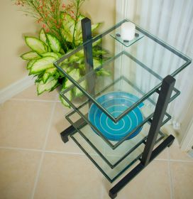 4 Shelf Steel & Glass Component Stand