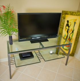 JW Ultra Media 80 inch Steel Frame TV Stand top view