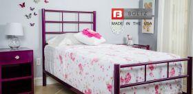 Boltz Steel Furniture Round Spindle Bed in Razz Sparkle Finish