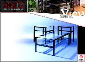 Steel and Glass Table Set, Coffee and two side tables