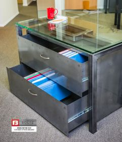 Boltz Steel 2 Drawer Lateral File Cabinet and Architect Table