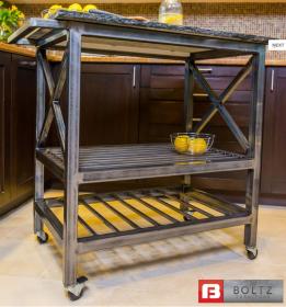 Versa-X Kitchen Island Cart in Brushed Steel